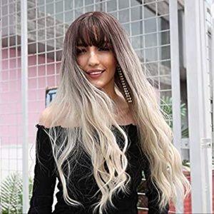 Long Wavy Dark Root Blonde Wig